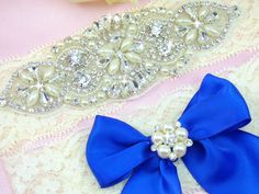 Grace Rhinestone Wedding Garter. Use as your something blue! Get yours here http://www.ellawinston.com/collections/rhinestone-garters/products/grace-ivory-lace-rhinestone-wedding-garter $29.89 #somethingblue #weddinggarter