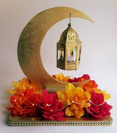 Gold Crescent Moon and Gold Lantern Centerpiece with Bright Autumn Flowers, LED lights, Simple Assem Ramadan Activities, Ramadan Crafts, Simple Birthday Decorations, Ramadan Decorations, Silver Lanterns, Metal Lanterns, Led Tea Lights, Led String Lights, Moroccan Party