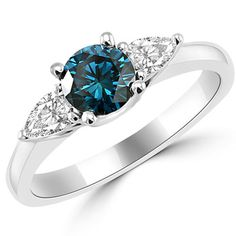 1.08ct Blue Diamond Three Stone Engagement Ring
