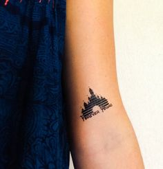 Rep your crib cause you're never too old for Disney. Two tattoos of Cinderella's castle with the words Forever Young Easy Application lasting 2-5 days. Measures 1.5 by 2 inches.