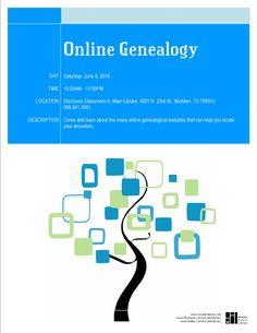 Online Genealogy. Main Library. Saturday, June 8, 2016 @10AM.