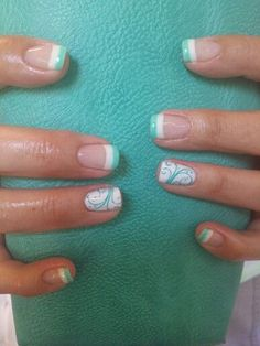 Pretty mint nails gel nails french tip, summer french nails, colored nail tips french Cute Summer Nail Designs, Cute Summer Nails, Spring Nails, Summer French Nails, French Pedicure, Colorful French Manicure, Pretty Nail Designs, Mint Green Nails, Mint Nails