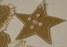 homemade Christmas ornaments in burlap and lace