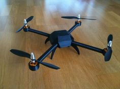The frame of this quadcopter was created with a 3D printer
