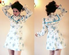 Vintage Prairie Mini Dress  1960s70s by tuppencehapenny on Etsy, £16.00