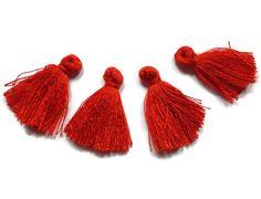 Mini Tassels 5 Pieces Tiny Vibrant Red Tassels  by FoxyBeadsCo