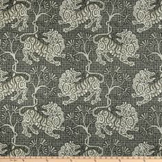 P Kaufmann Lion Dance Canvas Teak - Fabric.com Daybed Covers, Pillow Covers, Chinoiserie Fabric, Faux Roman Shades, Lion Dance, Lion Print, Custom Shower Curtains, Toss Pillows, Fabric Online