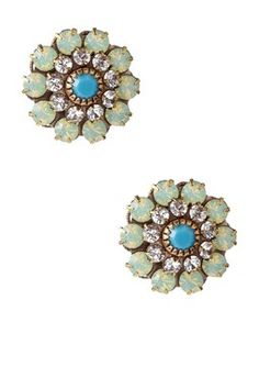 Liz Palacios Swarovski Crystal Large Floret Post Earrings