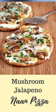 Quick and tasty Mushroom Jalapeno Naan Pizza is what you need to fix a pizza craving anytime. Quick and tasty Mushroom Jalapeno Naan Pizza is what you need to fix a pizza craving anytime. Indian Food Recipes, Vegetarian Recipes, Cooking Recipes, Healthy Recipes, Vegetarian Pizza, Cooking Bread, Healthy Flatbread Recipes, Recipes With Naan Bread, Healthy Snacks