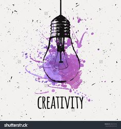 Vector Illustration With Hanging Grunge Light Bulb With Watercolor Splash…