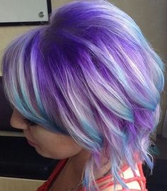 Purple hair blue dip dyed hair