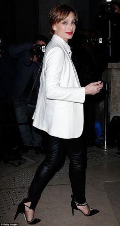 Matchy matchy: Fellow screen star Kristin Scott Thomas was rocking a similar masculine loo...