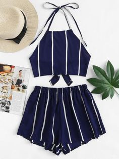 Knot Back Striped Halter Top With ShortsFor Women-romwe Summer Fashion Outfits, Cute Summer Outfits, Cute Casual Outfits, Pretty Outfits, Teen Fashion, Stylish Outfits, Summer Shorts, Fashion Ideas, Crop Top Outfits