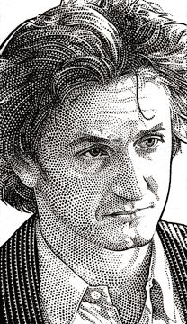 so full of anger though, I worry for him. But, another fabulous actor! Wall Street Journal Hedcuts on the Behance Network Star Illustration, Portrait Illustration, Portrait Sketches, Pencil Portrait, Pencil Art Drawings, Cool Drawings, Male Face Drawing, Stippling Art, Graphite Art