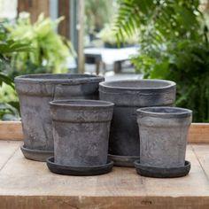 Linen Wrapped Wide Rim Pot, Slate