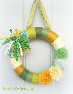 Spring Summer Green & Yellow Yarn Wreath with Korker Ribbon.  via Etsy.