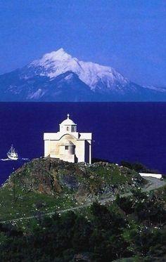 Mount Athos, view from Lemnos island, Greece Samos, Mykonos, Santorini, Beautiful Islands, Beautiful Places, Travel Around The World, Around The Worlds, Greek Beauty, Greek Isles
