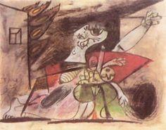 Picasso. PicasMadre con niño muerto, 28 de Mayo de 1937 Lápiz, tiza de color y aguada sobre papel, 23,2 x 29,3 cm. Estudio para el Guernica. (Todos los bocetos están expuestos junto al Guernica en el Museo Reina Sofía de Madrid.)