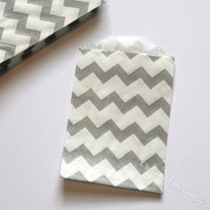 Chevron Bags, 20 Gray Grey Wooden Silverware Bag MINI SIZE Paper Goods Favor Candy Treat  Birthday Wedding Baby Shower w/ Straw Flags. $5.25, via Etsy.