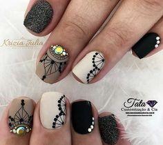 Unhas arabesco: Lindas nail art com arabescos Glow Nails, Diy Nails, Cute Acrylic Nails, Cute Nails, Arabesque, Diy Nail Designs, Autumn Nails, Manicure And Pedicure, Matte Nails