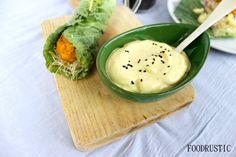 Vegan chickpea falafel wrap with vegannaise