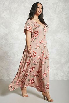 Forever 21 - Pink Plus Size Floral Maxi Dress - Lyst Girls Maxi Dresses, Maxi Outfits, Long Summer Dresses, Plus Size Maxi Dresses, Casual Dresses, Fashion Outfits, Wrap Dresses, Curvy Girl Fashion, Modest Fashion