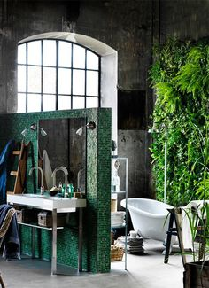 Badkamer met een tropisch tintje - Bohemian sfeertje