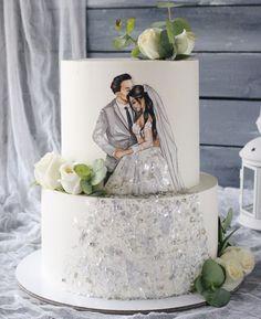 Creative Cake Decorating, Cake Decorating Videos, Cake Decorating Techniques, Pretty Wedding Cakes, Wedding Dress Cake, Wedding Cake Designs, Cake Icing, Eat Cake, Beautiful Cakes