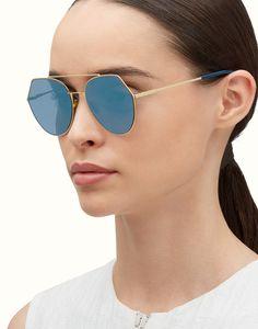 FENDI EYELINE - Gafas de sol de metal de color oro rosa