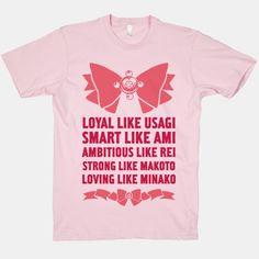 Loyal Like Usagi, Smart Like Ami, Ambitious Like Rei, Strong Like Lita, Loving Like Minako | HUMAN