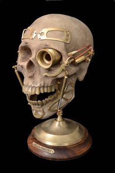 Steampunk Cyborg Robot Skull SteamBorg monster by ArcaneArmoury,