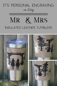 Vegan leather looks and feels like real leather but is easier to clean. Stainless Steel tumblers are double walled vacuum insulated. western theme is perfect for the newly married couple on their wedding day.  #personalizedgifts #insulatedtumbler #weddinggift #personalizedcup #forbrideandgroom #fornewlyweds #horselover #western #rusticwedding #barnwedding #countrywedding #cowboy #cowgirl #horseranch