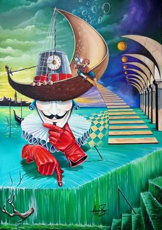 """Il Pagliacci"" - Oil on canvas - Mihai Adrian Raceanu  #art #painter #painting #surrealism"