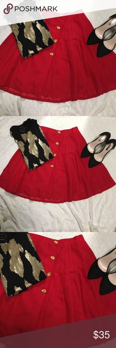 Red Ann Taylor skirt Beautiful deep red Ann Taylor pleated rap skirt with four gold buttons in the front Ann Taylor Skirts A-Line or Full