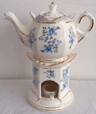 Vintage+Teapots+with+wormer | Castle Japan Porcelain BLUE ROSE Teapot with Warmer