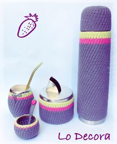 Kit Matero Lo Decora Equipo de mate completo con fundas a crochet !!! Crochet Cup Cozy, Crochet Tote, Diy Crochet, Crochet Crafts, Fabric Crafts, Crochet Projects, Crochet Decoration, Ibiza Fashion, Knitting