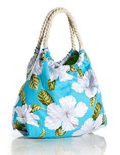 Mon chi Haus Tropical Print Beach Bag in Aqua, Tropical Hawaiian Handbags & Totes, Hawaiian Fashion, Tropical Fashion, White Hibiscus, Summer Bags, Tote Handbags, Purses And Bags, Textiles, Tote Bag, Diaper Bag