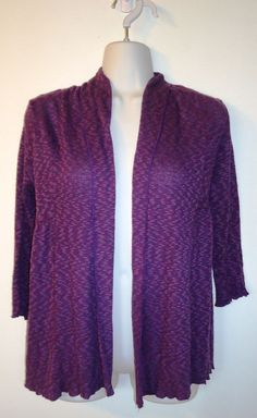 Kimchi Blue Purple 3/4 Sleeve Cropped Cardigan Sweater Size S Open Front Heather #KimchiBlue #Cardigan #Casual