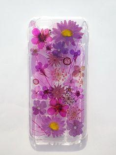 Annys workshop手作押花手機保護殼,適用於iphone 6 及 6S,紫色, Pressed flower phone case, Purple color