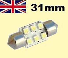 Bright White 6 SMD LED Car Interior Festoon Dome Light Bulbs 31mm DE3175 DE3022