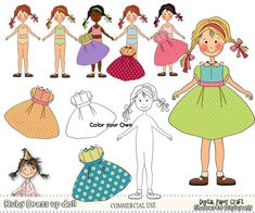 Clipart Dress Up Doll Ruby Instant Download by DigitalPaperCraft, $5.00