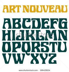 Art nouveau font. Decorative vector type. Rough printed letters.