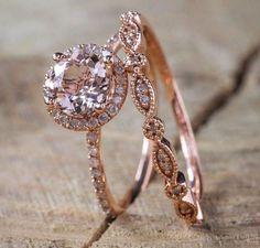 Antique 18K Rose Gold Morganite Gemstone Ring Set Wedding Women Jewelry Sz 6-10 #weddingring
