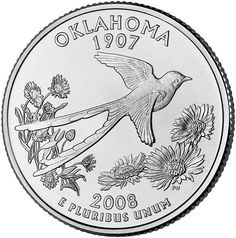 Oklahoma state quarter, with scissor-tailed flycatcher, the state bird - Living in the USA req. 2 (neighbor state's quarter)
