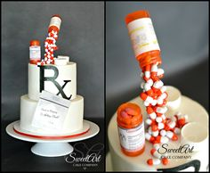 Gravity Defying Pharmacist Cake-All Edible! Pharmacy Cake, Pharmacy Gifts, Pharmacy School, Gravity Defying Cake, Gravity Cake, Doctor Cake, Bike Cakes, Little Mermaid Cakes, Retirement Cakes