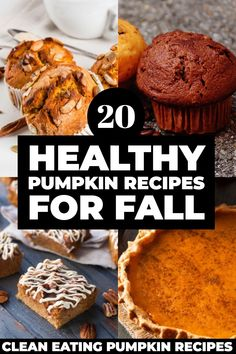 Looking for healthy pumpkin recipes? These clean eating pumpkin desserts, muffins, and appetizers are perfect for satisfying your sweet tooth without adding calories! Whether you're looking for gluten-free, vegan, paleo or low carb pumpkin recipes, this collection of simple guilt-free treats won't disappoint! Paleo Pumpkin Recipes, Healthy Pumpkin, Fall Recipes, Vegan Pumpkin, Soup Recipes, Keto Recipes, Healthy Recipes, Brownie Recipes, Cheesecake Recipes
