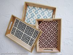 Taracea, marquetry trays - by papelmaderayalgomas Diy Home Decor Projects, Wood Projects, Art Drawings For Kids, Pomegranate Juice, Marquetry, Mosaic Tiles, Wood Crafts, Painted Furniture, Decoupage