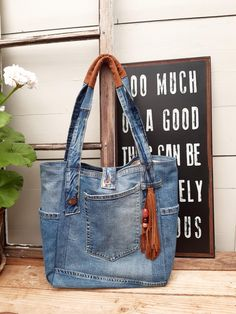 Denim Bags From Jeans, Denim Purse, Diy With Jeans, Diy Bags Jeans, Leather Label, Leather Cord, Brown Leather, Denim Bag Patterns, Japanese Knot Bag