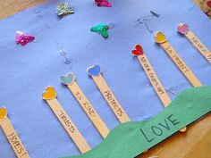 Love Garden growing: hopes, is kind, never fails, never gives up, trusts, is patient, and protects