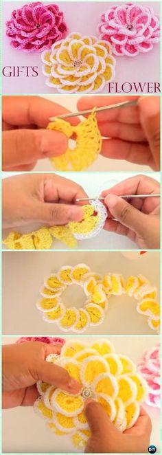 Ganchillo sola tira de flor libres del patrón [Video] - Patrones de ganchillo flor 3D con motivos gratis